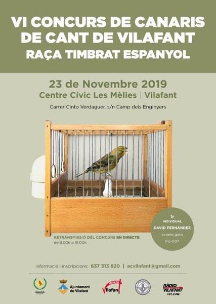 6è Concurs de Canaris de Cant de Vilafant: raça timbrat espanyol