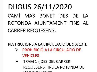 Atenció Carrer Mas Bonet es talla la circulació viària de 9h a 13h dimarts 1 de desembre 2020