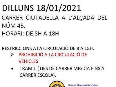 Atenció Carrer Ciutadella: es talla la ciurculació viària de 8h a 18h dilluns 18 de gener del 2021