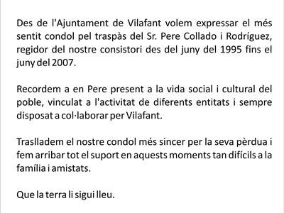 Nota de condol pel traspàs del Sr. Pere Collado i Rodríguez