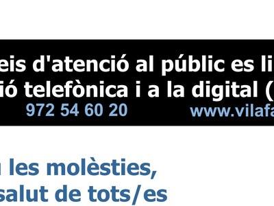 L'Atenció al públic limitat a l'atenció telefònica i digitalment