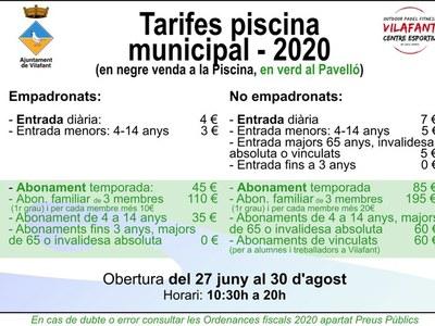 Criteris d'obertura i funcionament de la piscina estiu 2020 (covid19)