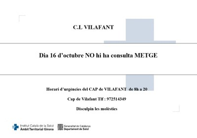 El 16 d'octubre al CAP de Vilafant NO hi haurà Consulta de Metge