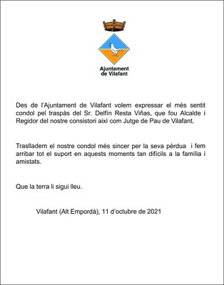 Nota de condol pel traspàs del Sr. Delfí Resta Viñas