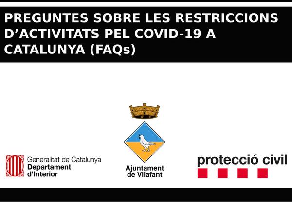 PREGUNTES SOBRE LES RESTRICCIONS  D'ACTIVITATS PEL COVID-19 A CATALUNYA